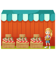 A girl selling tomatoes vector image vector image