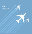 airplanes takeoff in sky with trace vector image