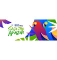 animal day banner amazon forest parrot birds vector image