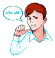 Ask me support guy vector image vector image