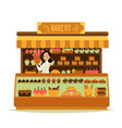 bakery shop - cartoon chef baker woman holding big vector image vector image