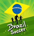 Brazil soccer background - soccer player and ball vector image
