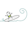 cartoon man surfing on wave vector image