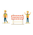 construction company happy workers flat vector image