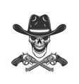 cowboy skull with crossed revolvers design vector image vector image