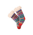cute knitted woolen socks with colorful pattern vector image