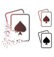 dissolved pixel halftone spade gambling cards icon vector image vector image
