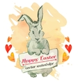 Easter bunny hipster Watercolor Happy vector image vector image