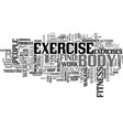 fitness and exercise advice text background word vector image vector image