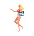 flat cute woman in swimsuit stands smiling vector image vector image