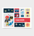 flat hacker activity infographic template vector image