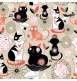 Floral pattern with cats vector image