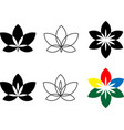 flower icon set flat logo with floral elements vector image