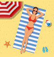 girl on beach with a bikini summer time vector image