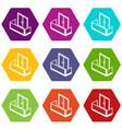 glass balcony icons set 9 vector image