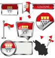 glossy icons with flag of cologne germany vector image vector image
