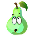 green pear cartoon face thinking on white vector image vector image