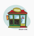 grocery shop or store with showcase exterior view vector image vector image