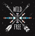 grunge with crossed ethnic arrows and tribal vector image vector image