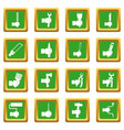 hand tool icons set green vector image