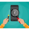 Hands phone with broken screen screwdriver vector image vector image