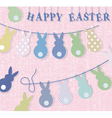 Happy Easter bunny rabbits card vector image vector image