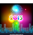Happy New Year 2015 with fireworks background vector image vector image