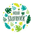 hello summer lettering with summer leaves vector image