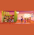 kids in library teacher children at book shelves vector image