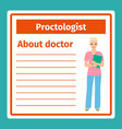 medical notes about proctologist vector image vector image