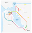 metro map san francisco and california bay vector image vector image