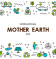 mother earth day card of nature care icons vector image vector image