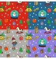 New Year Christmas seamless pattern set vector image