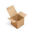 open carton box of square shape in 3d isometric vector image