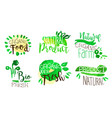 organic food labels set natural farm product vector image