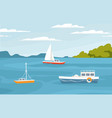 peaceful marine landscape with sailboats ships vector image vector image