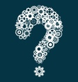 Question mark with cog wheels vector image