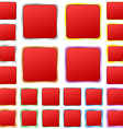 Red blank square metal button set vector image vector image