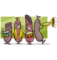 sausages band cartoon vector image vector image