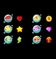 set isolated game icons in bubbles vector image
