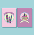 set of cupcake and candies in bar with ribbon vector image vector image