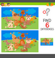 spot the differences with dog animal characters vector image vector image