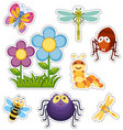 sticker set with flowers and bugs vector image vector image
