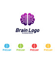 tech brain logo design mind technology concept vector image