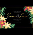 wedding invite lily flowers tropical jungle leaves vector image