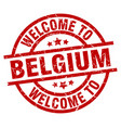 welcome to belgium red stamp vector image vector image