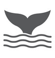 whale tail glyph icon animal and underwater vector image vector image