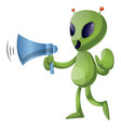 alien with megaphone on white background vector image