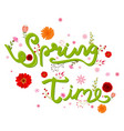 beauty spring text with colorful flower vector image vector image