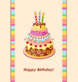 birthday card with cake tier candles and cherry vector image vector image